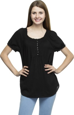 One Femme Party, Formal Short Sleeve Solid Women,s Black Top