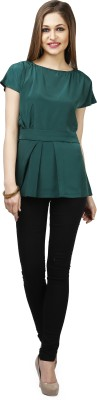 Glam and Luxe Casual Short Sleeve Solid Women's Green Top