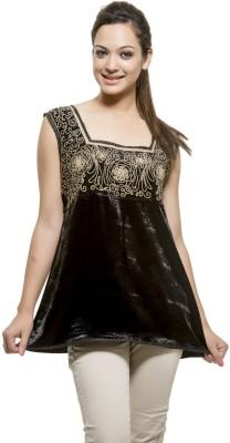 Kashana Fashions Party Sleeveless Embellished Women's Black Top