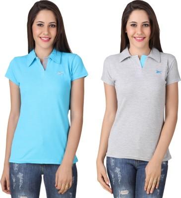 Yati Casual Short Sleeve Solid Women's Blue, Grey Top