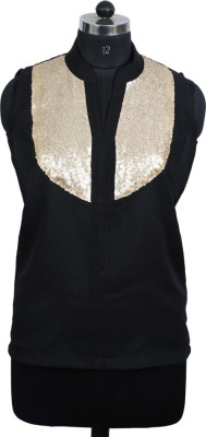 Auras Party Sleeveless Embellished Women's Black, Gold Top