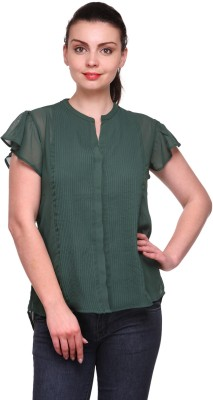 Kami Casual Short Sleeve Solid Women's Green Top