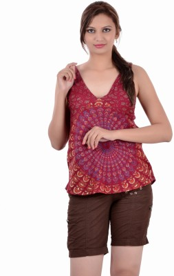 Indi Bargain Casual, Festive, Formal, Party Sleeveless Printed Womens Maroon Top