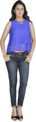Franclo Party, Beach Wear, Lounge Wear Sleeveless Self Design Women's Blue Top