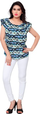 SFDS Casual Short Sleeve Printed Women's Multicolor Top