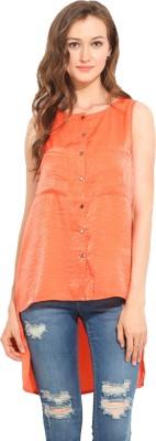 Albely Casual Sleeveless Solid Women's Orange Top