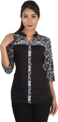 Jiyami Creations Party 3/4 Sleeve Printed Women's Black, White Top
