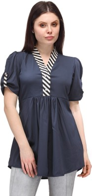 Just Wow Casual Short Sleeve Solid Women's Blue Top