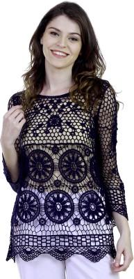 Caribbean Joe Beach Wear 3/4 Sleeve Self Design Women's Black Top