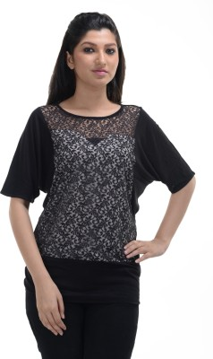 No Code Party Cape Sleeve Embellished Women's Black Top