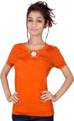 TIMBERLAKE Casual Short Sleeve Solid Women's Orange Top