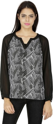 French Creations Casual Full Sleeve Printed Women's Black Top
