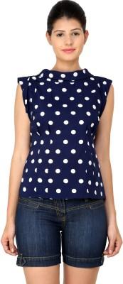 StyleToss Casual Sleeveless Polka Print Women's Blue Top