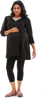 Ziva maternity wear Casual 3/4th Sleeve Printed Womens Black Top