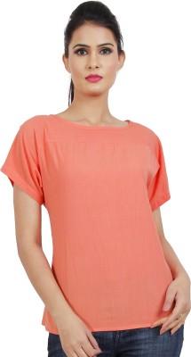 Dhrohar Casual Short Sleeve Solid Women,s Pink Top