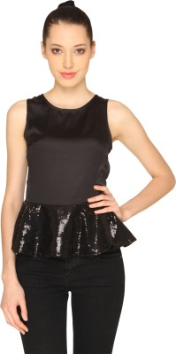 Ashtag Party, Lounge Wear Sleeveless Solid Women's Black Top