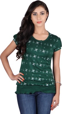 Raves Casual, Sports, Party Short Sleeve Floral Print Women's Green Top