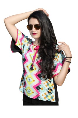 SASURAL Casual, Party Short Sleeve Self Design Women's Multicolor Top