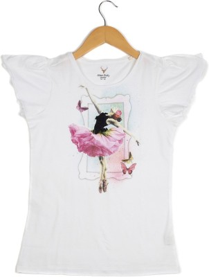 Allen Solly Casual Short Sleeve Printed Girl's White Top