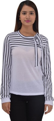 ZAYN M Casual Full Sleeve Striped Womens White Top