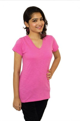 The Clove Casual Short Sleeve Solid Women's Pink Top