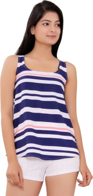 Tinge of Colors Casual Sleeveless Striped Women's Dark Blue Top