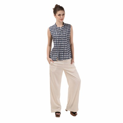 Le Luxe Casual Sleeveless Checkered Women's Blue, White Top