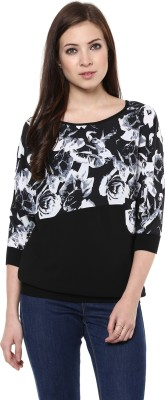 AR2 Party 3/4 Sleeve Printed Women's Black Top