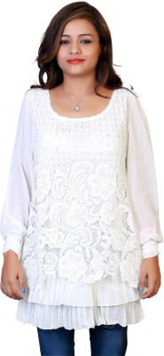 F FASHIONSTYLUS Party Full Sleeve Embroidered Women,s White Top