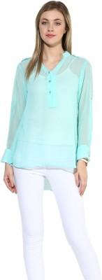 La Firangi Casual Full Sleeve Solid Women's Blue Top at flipkart