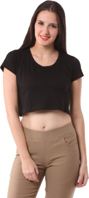 FashionExpo Casual Short Sleeve Solid Women's Black Top