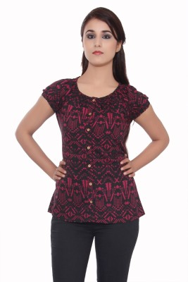 GMI Casual Short Sleeve Printed Women's Red Top