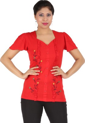 Harsha Casual Short Sleeve Floral Print Women's Red Top