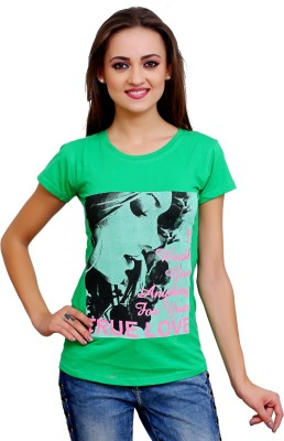 Poorvi collections Casual Short Sleeve Printed Women's Green Top
