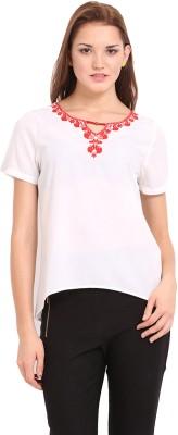 Femenino Casual Short Sleeve Self Design Women's White, Red Top