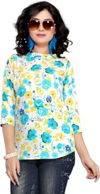 Kurtiz Casual 3/4 Sleeve Floral Print Women's Blue Top