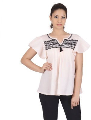 Gudi Casual Short Sleeve Embroidered Women's Pink Top
