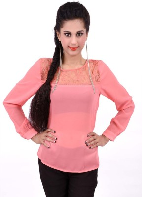 Palette Casual Full Sleeve Solid Women's Orange Top
