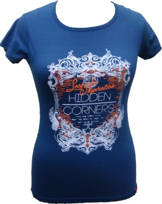 Oner Casual Short Sleeve Printed Women's Blue Top