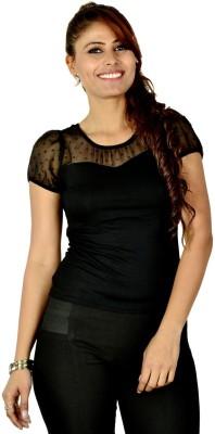 Designeez Casual Short Sleeve Solid Women's Black Top