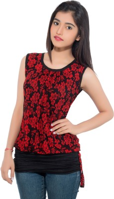 Membooz Casual, Party Short Sleeve Floral Print Women's Red, Black Top