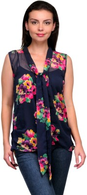 Zachi Casual Sleeveless Floral Print Women's Blue Top