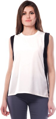 Miss Chase Casual Sleeveless Solid Women's Black Top at flipkart