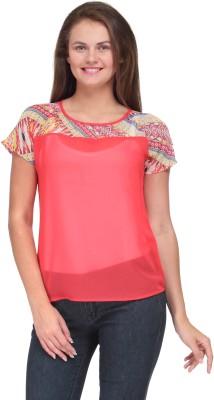 Motif Casual Short Sleeve Solid Women's Orange Top