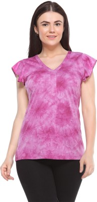 MOD PLUSS Casual Short Sleeve Printed Women's Purple Top