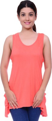 Lamora Casual Sleeveless Solid Women's Orange Top