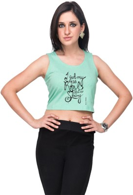 Campus Sutra Casual Sleeveless Printed Women's Light Green Top