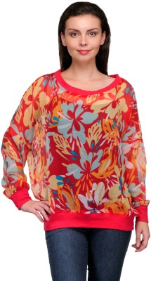 Zachi Casual Full Sleeve Printed Women's Red Top