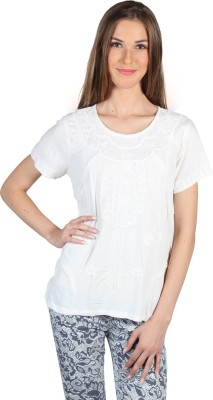My Addiction Casual Short Sleeve Embroidered Women's White Top