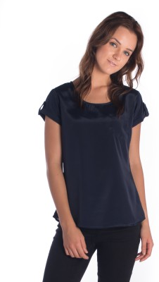 Miss Rich Casual Short Sleeve Solid Women's Blue Top